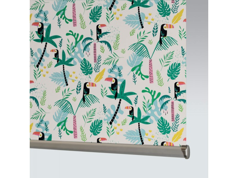 100% Polyester JUNGLE BIRDS BLACKOUT - 1 Colourway
